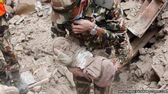 Nepal Army rescuing few months old baby alive in earthquake